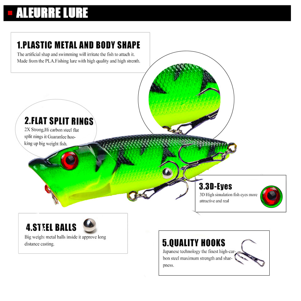 Image 3 - 7cm/11g Topwater Bait Popper Lures vibrating Small Whopper Hard Isca Artificial Weever Wobbler 3D Eyes Fishing Lure Pesca-in Fishing Lures from Sports & Entertainment