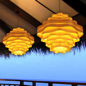 Southeast Asia Pendant Lights LED Handwork Art Wooden Skin Dining Living Room Bedroom Teahouse Modern Personality Creative Hotel