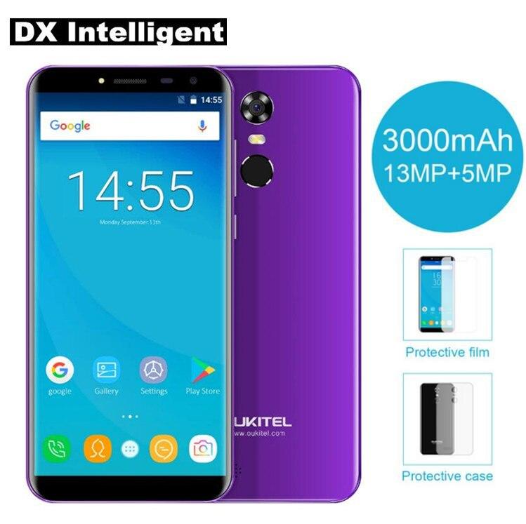 D'origine OUKITEL C8 3G téléphone portable 5.5 Pouces HD + 18:9 Affichage MT6580A Quad Core 2 GB RAM 16 GO ROM Android 7.0 13MP D'empreintes Digitales