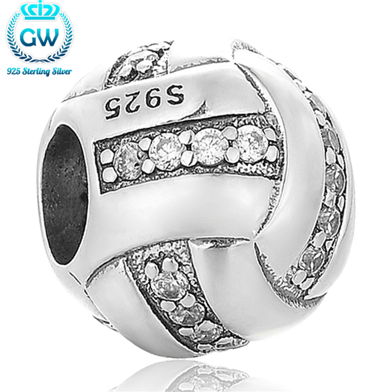 Sterling Silver Volleyball Charm Bracelet With Clear Stone European Bracelets For Women Jewelry GW Brand X385 брелок gw jewelry