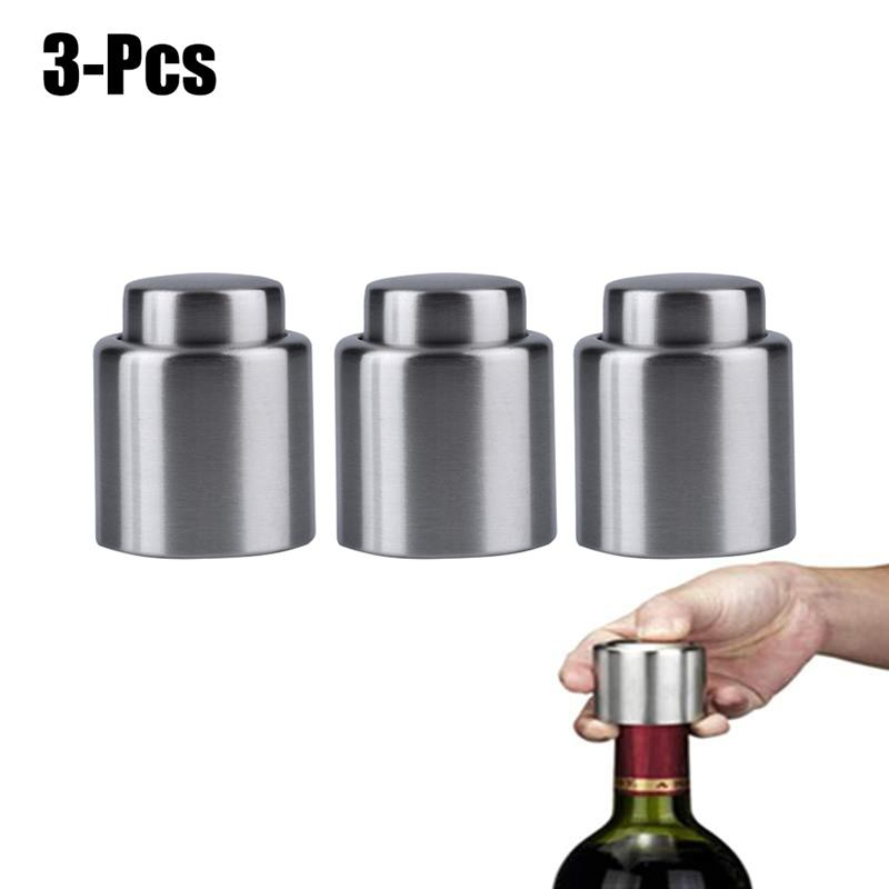 Stainless Steel Reusable Vacuum Sealed Champagne Red Wine Bottle Stopper Cap New