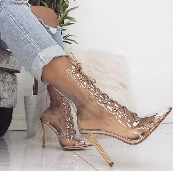 Summer Hot Clear PVC Women Lace Up Ankle Boots Sexy Pointy Toe Ladies High Heel Boots Nude Leather Heel Female Party Boots недорго, оригинальная цена