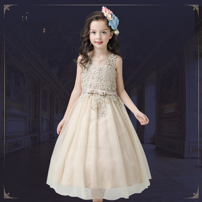 3-12Y Lace Teenagers Kids Girls Wedding Long Girl Dress elegant Princess Party Pageant Formal Dress Sleeveless Girls Clothes long criss cross open back formal party dress