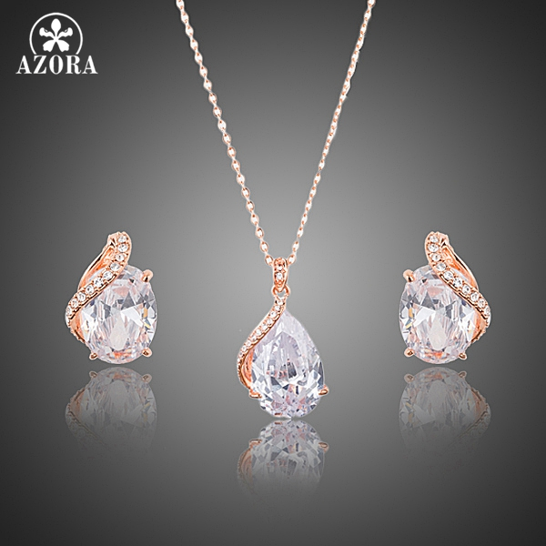 AZORA Rose Gold Plated Clear Waterdrop Clear Cubic Zirconia Stud Earrings and Pendant Necklace Jewelry Sets
