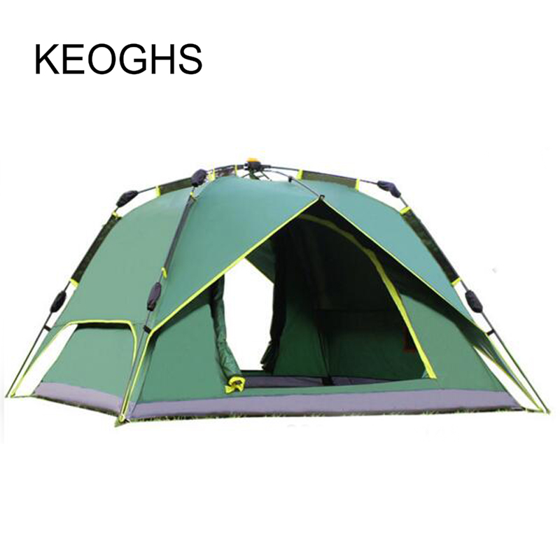 3-4 Person Windproof Camping Tent Waterproof Oxford Cloth Dual Layers Outdoor Sport Beac ...