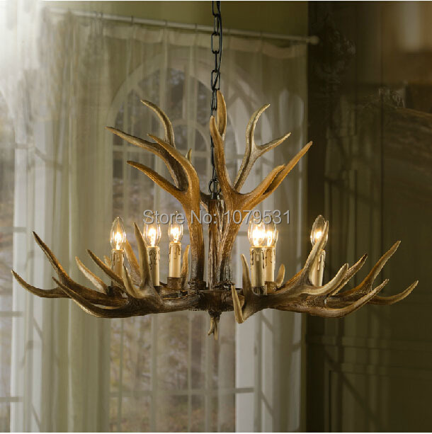 Europe Country American Retro Wall Lamps Fixture Resin Deer Horn Antler Glass Lampshade Decoration Wall Lamp, E27 110-220V -4