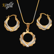 Hot Selling Two Tone Gold Silver Color Chain Round Jewelry Set Fashion Unique Hoop Earrings Pendant Necklace Set For Women Gift