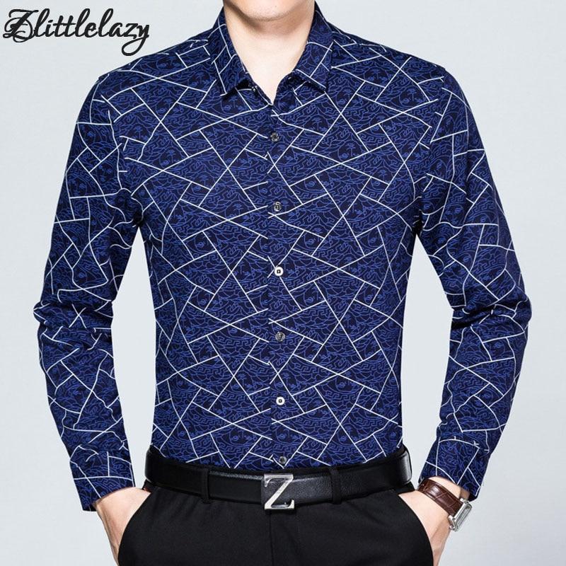 ᗕ2018 marca de manga larga slim fit casual Camisa de algodón Argyle ...