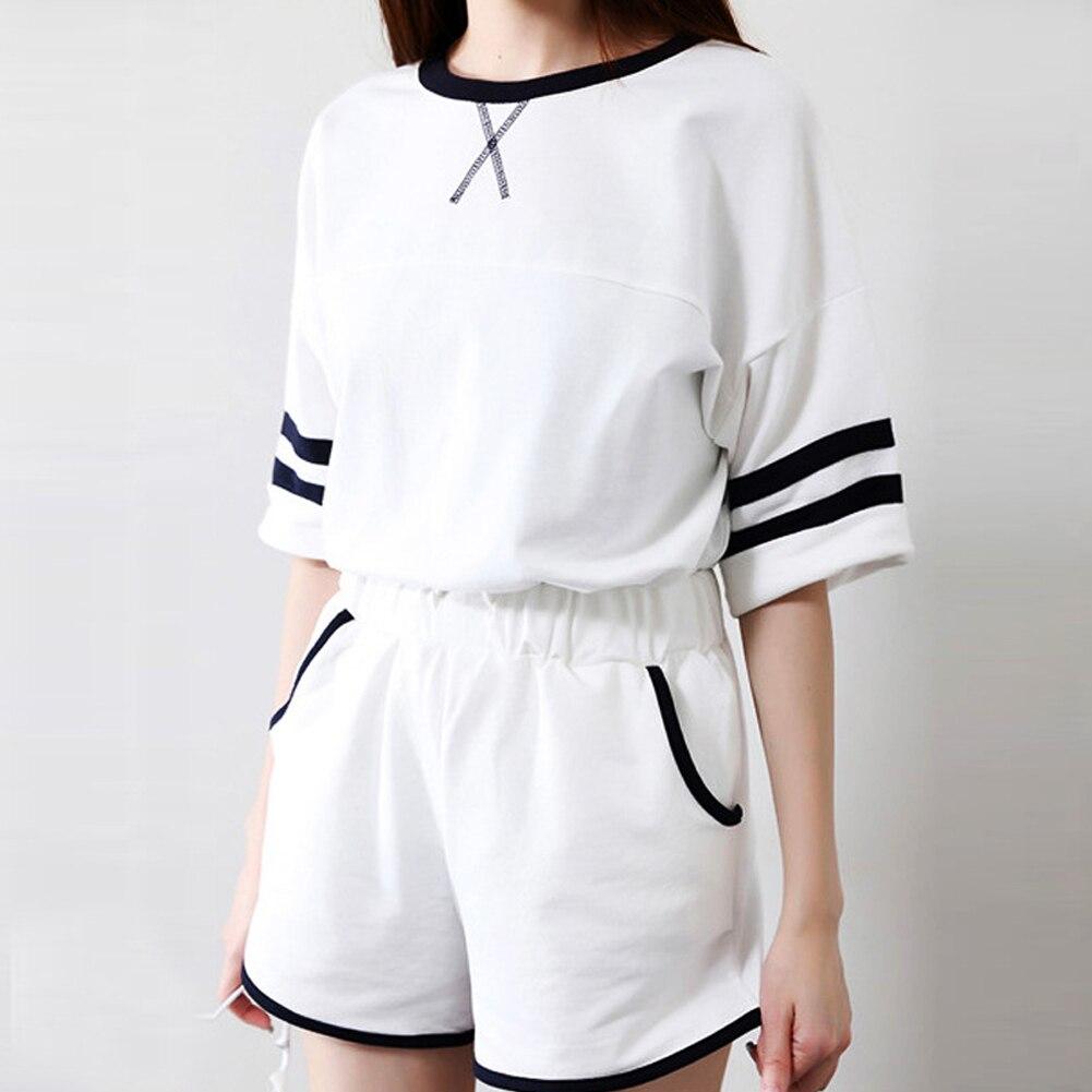 2 Teil/satz Harajuku College Studenten Sommer Gestreiften Kordelzug Kurzen Anzug Frau Nähen Kurzarm Set Frauen Kleidung