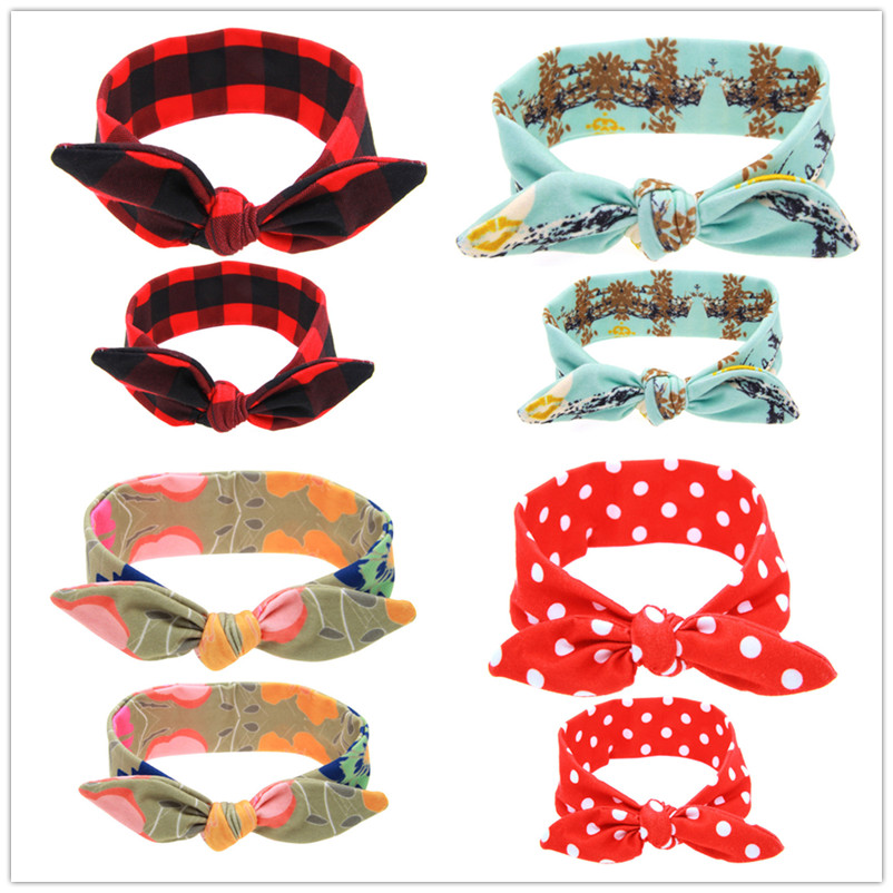 2PCS/Set Mom Mother & Daughter Kids Baby Girl Headband Hair Band Accessories Cute Lovely Hoop Hair Knot Stretch C0288