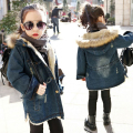 NEW Winter Thicken Jeans Girls Coats with Fur Collar Cotton 6-12Y Children's Demin Hooded Jackets Kids Brand Clothes Korea SC685