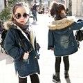 NOVO Inverno Engrossar Calça Jeans Meninas 6-12Y Crianças Demin Casacos com Gola De Pele de Algodão Casacos de Capuz Crianças Roupas de Marca Korea SC685