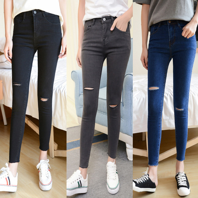 2019 Spring Summer Fashion Womens Jeans High Waist Skinny Keen Hole Ripped Jeans Girls Vintage Slim