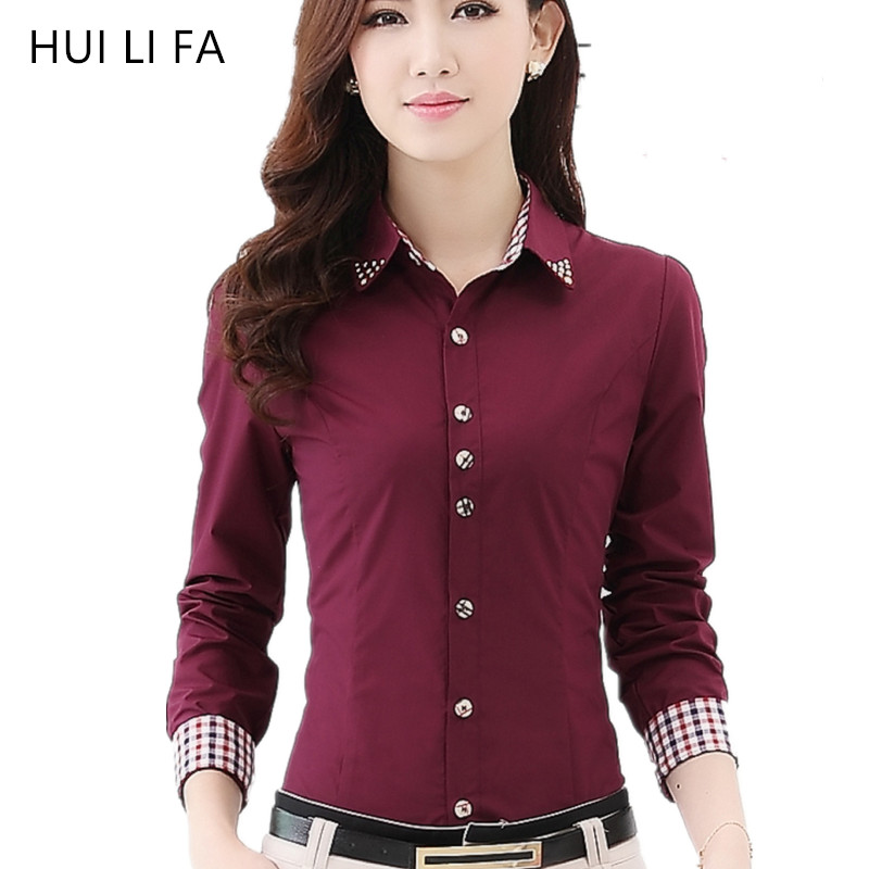 e89b97fdda9990 2017 New Arrive Women Check Shirts Slim Plaid Cotton Office Wear Shirt OL  Diamond Tops Spring Long Sleeve Work Blouse Female-in Blouses & Shirts from  ...