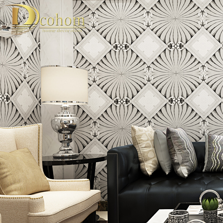 Dcohom Modern Simple Luxury European Style 3D Wallpaper For Bedroom Living Room Sofa TV Walls Decor Embossed Wall Paper Rolls simple striped lines modern wall papers home decor wallpaper for living room bedroom tv sofa background wallpaper for walls 3 d