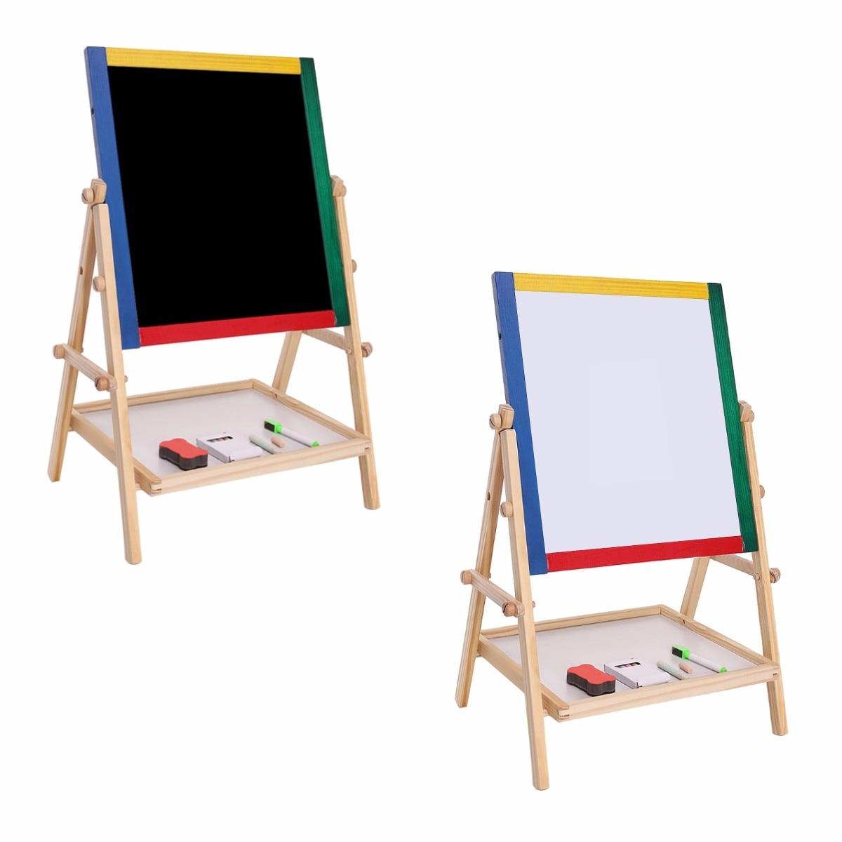 Drawing Board Educational Toy For Children Adjustable Children Kids 2 In 1 Black / White Wooden Easel Chalk