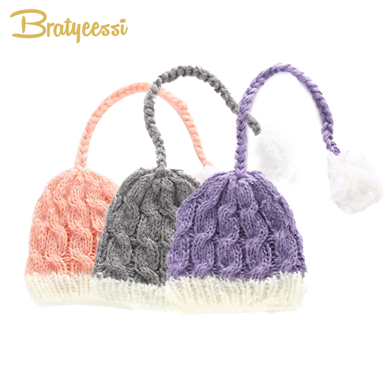 Fashion Knitted Baby Hat Newborn Photography Props Cotton Baby Beanie Cap Fotografia Accessories New Born Photo Props 1PC