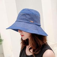 Spring Summer Women Hat Flat Linen Bucket For Travel Sun Japanese Foldable Solid Color Female Simple Fisherman