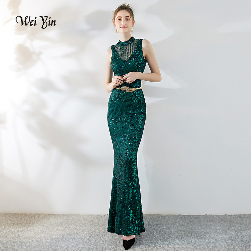 Wei Yin Green Sparkle Gorgeous Long Evening Dresses O-Neck Mermaid Sexy Sequined Elegant Evening Gowns Robe De Soiree WY1805