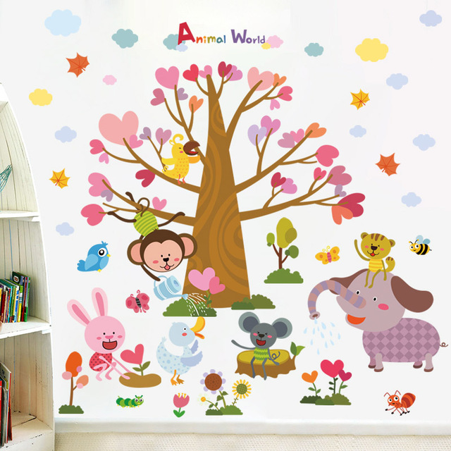 Zooyoo diy animal tree planting children wall stickers for kids rooms baby bedroom vinyl decals flower