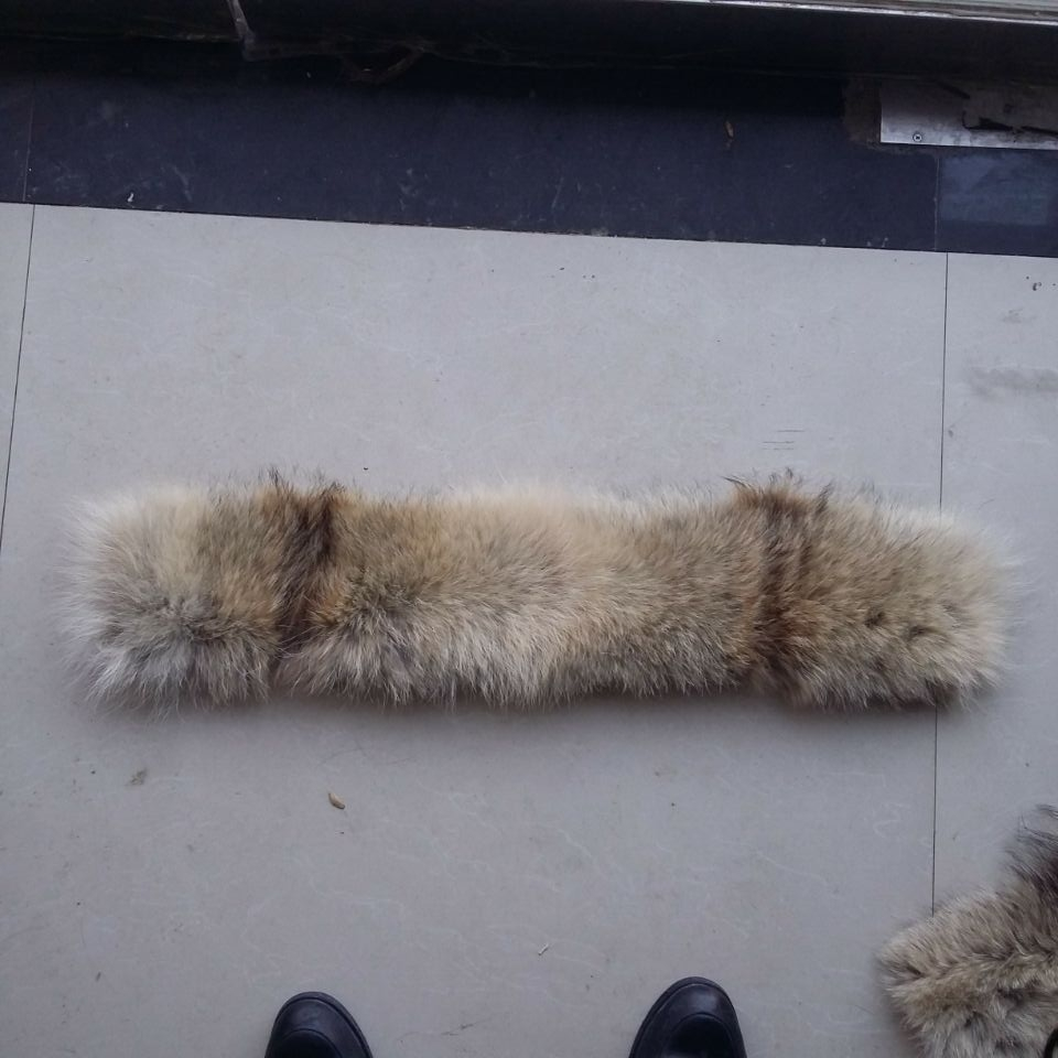65*8 cm Real coyote fur collar trimming / Real fur hood strips for jacket coat
