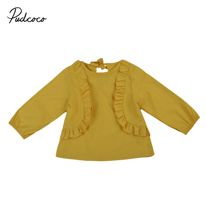 Aus Dem Ausland Importiert Säuglingsbabys Kleinkind Baumwolle Kinder Kleidung Outfits Rüschen Langarm Bluse Tops Shirts Frühling Herbst Shirts 0-3y