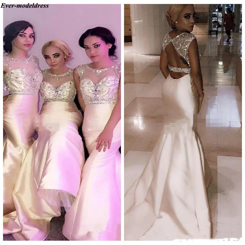2019 Mermaid   Bridesmaid     Dresses   Long Sexy Backless O-Neck Sweep Train Beaded Maid Of Honor   Dress   Wedding Guest Gowns Plus Size