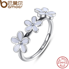 BAMOER 100% 925 Sterling Silver Darling Three Daisy Flowers Ring for Women Wedding White Enamel Original Fine Jewelry PA7148