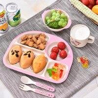 Children Bamboo Fiber Tableware Set 5pcs Plate Bowl Cup Spoon Fork Cartoon Pattern Baby Dinnerware Set