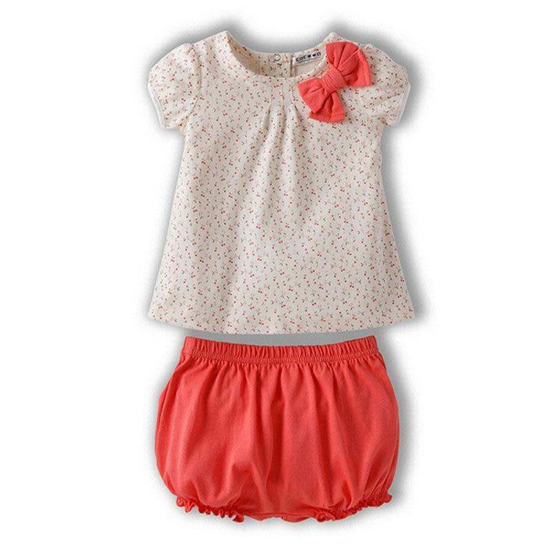 2PCS Infant Baby Girls Cotton Dots Bow Short Sleeve Top Shirt+ Short Pant Sets Clothes Pink  Baby Sets Suit