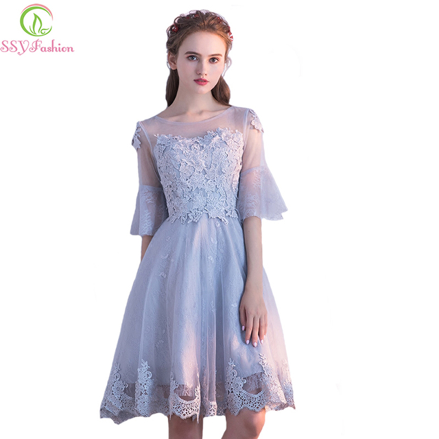 SSYFashion New Bridesmaid Dresses The Bride Married Banquet Elegant Grey Lace Appliques Half Sleeved Short Party Formal Gowns