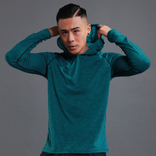 Бег футболка для мужчин с длинным рукавом капюшоном Рашгард тонкий спортивные топы фитнес тренировочная футболка быстросохнущая дышащая спортивная одежда