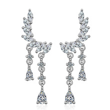 New trendy shiny cz zircon angel wings 925 sterling silver ladies`tassels stud earrings jewelry for women wedding gift no fade