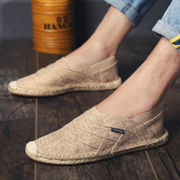 Men Canvas Shoes Summer Breathable Fashion Casual Flat Loafers driving lazy Comfortable Espadrille Fisherman Linen Shoes LA 69