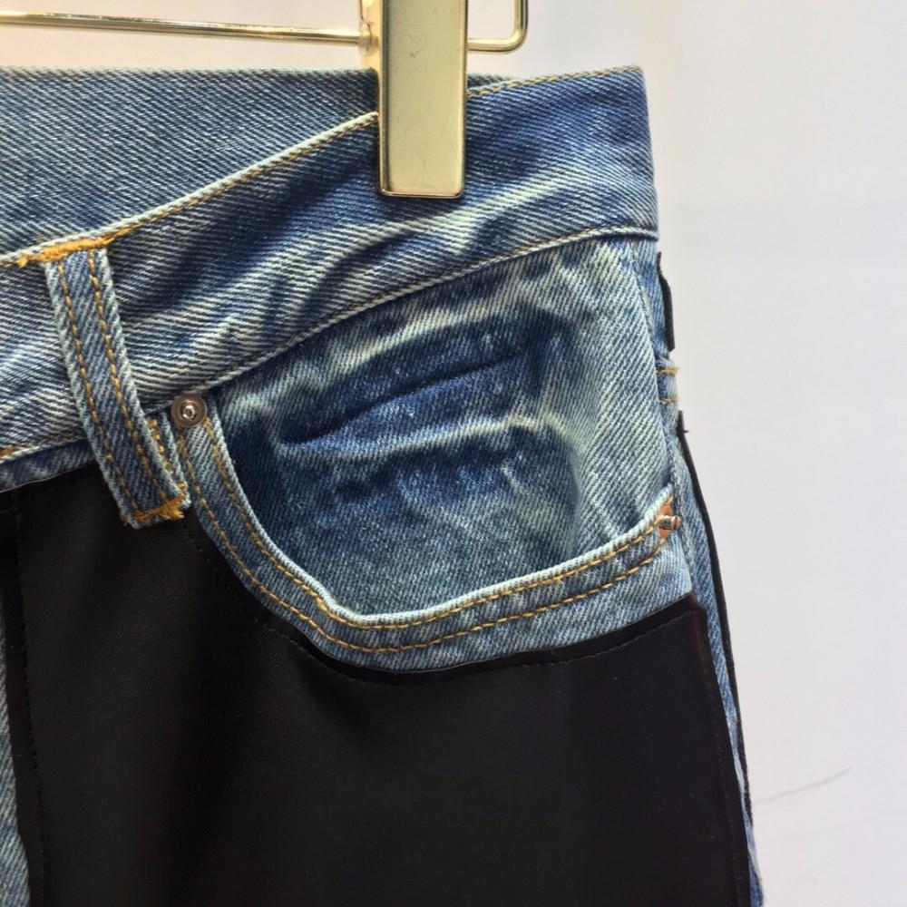 Denim Vainqueur Pu Cuir Pantalon New Patchwork Ddxgz3 Trouse Femmes 2018 HYwZtqZ