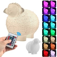 16 Color 3D Print Dinosaur Baby Egg Shell Sheep Lamp Dimmable Rechargeable LED Light Remote Control Toy Wood Stand Table Decor