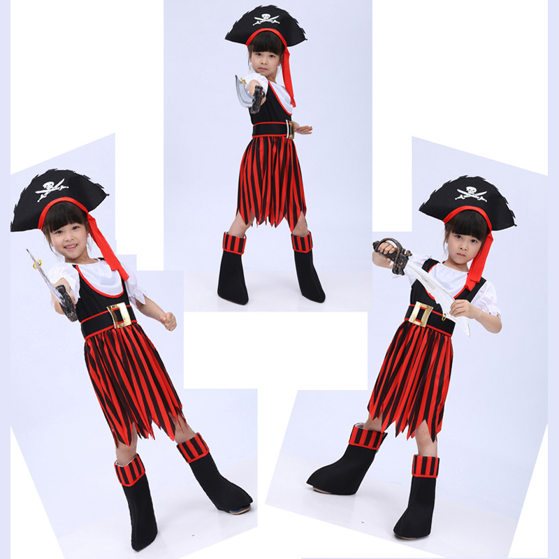 Free shipping 2016  masquerade Halloween performance clothing girls clothing children's pirate costume Pirates of the Caribbean