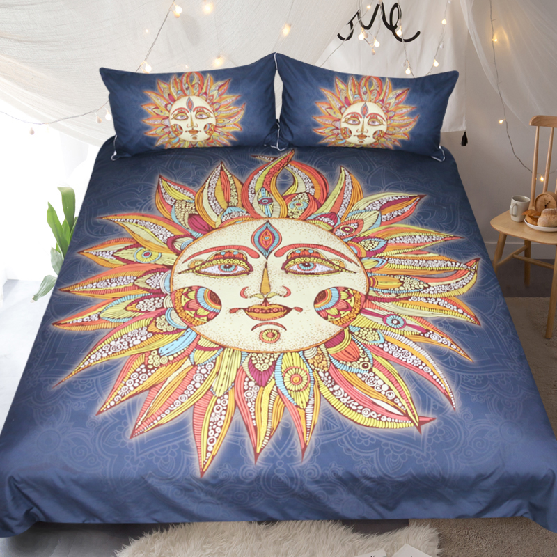 3pcs Bed In A Bag Sun God Bedding Set Black And Yellow