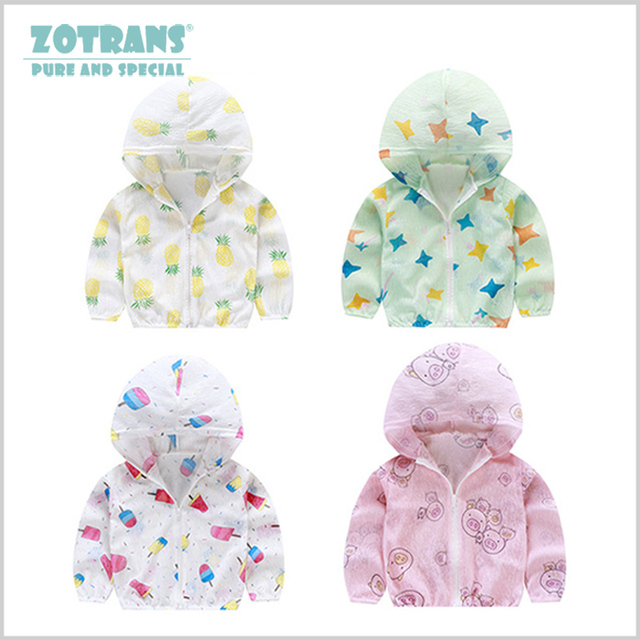 Baby Sun Protection Clothing Boys Summer Outdoor Children Grils Sun Coat Kids indoor Air Conditioning Hooded Clothes