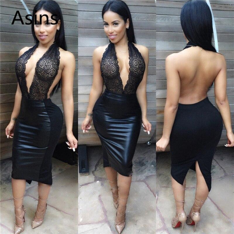 Asins сексуальное платье для ночного клуба 2019 лето новое горячее женское сексуальное вышитое подвесное с открытым воротом PU модное повседнев