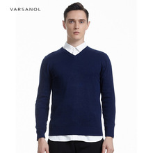 Varsanol Mens Sweaters Pullover V Neck Hollow Out Design Brand Clothing Autumn Winter Male Loose Solid Knitted Comfortable Coat