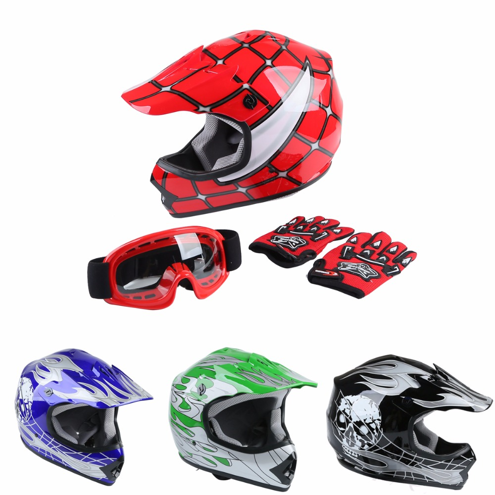 Motorbike DOT Motorcycle Helmet Youth Kids Motocross Off-Road Dirt Bike Helmet Goggles+Gloves S/M/L Ski Racing Helmet футболка мужская kellys dirt хлопок полиэстер оранжевая s men s dirt tshirt