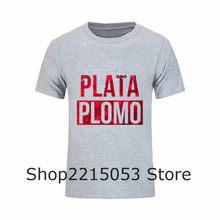 Diseños Geek Camiseta Fresca Hombres Plata o Plomo Camiseta hombres de Narcos  Pablo Escobar Camiseta Masculina 28234d3cbdc