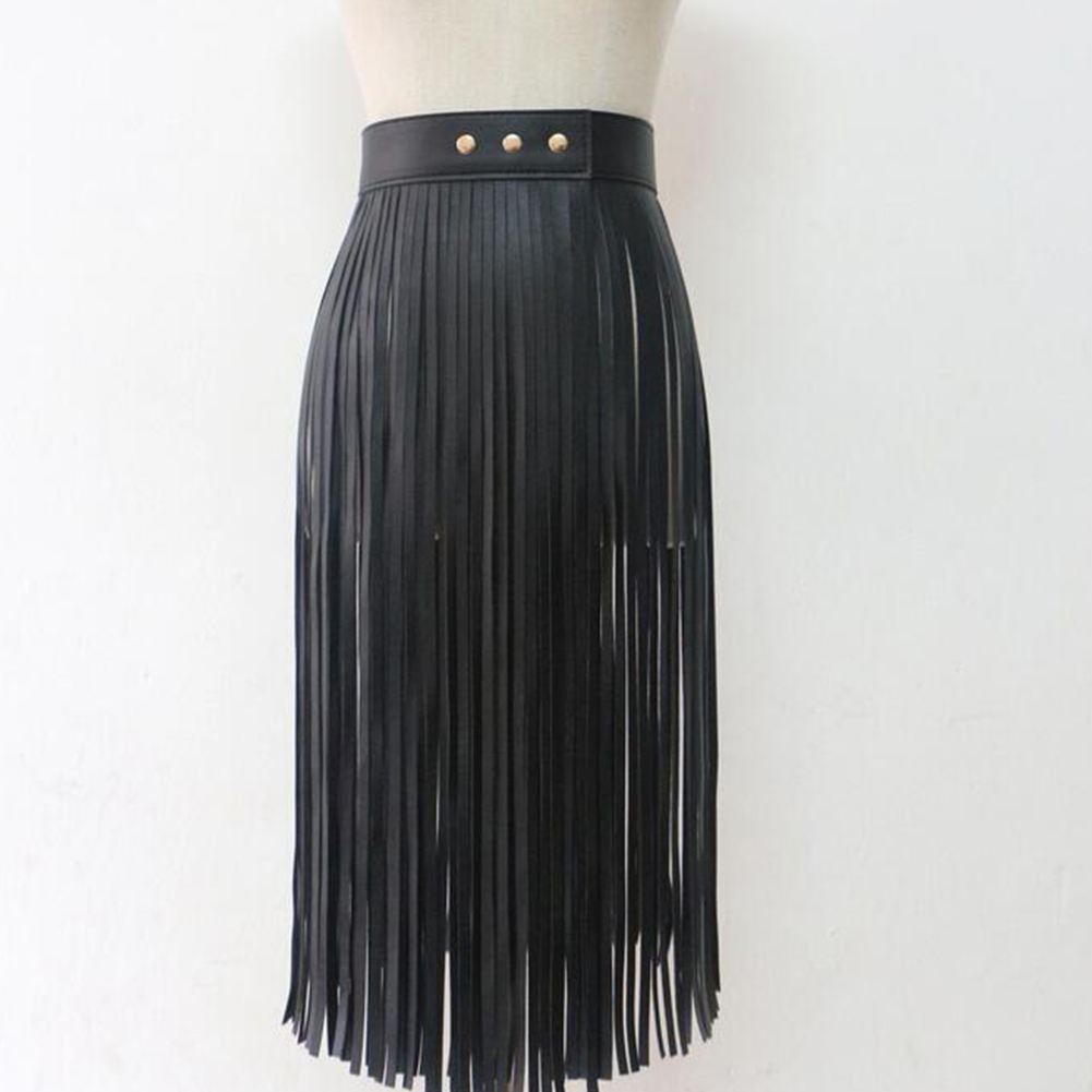 Women Buckle Cool Fringe Skirt Long Artificial PU All Matching Sexy Tassel Adjustable Waist Belt Wide