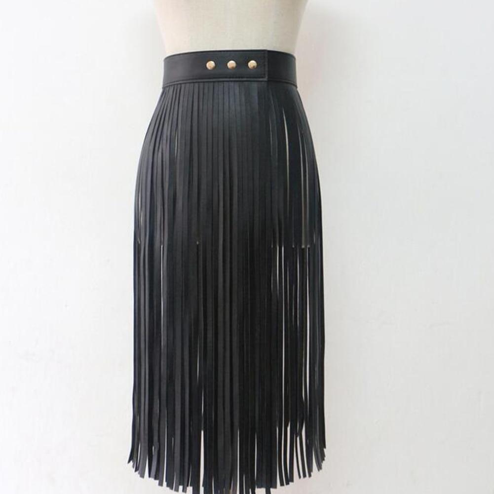 Women Buckle Cool Fringe Skirt Long Artificial PU All Matching Sexy Tassel Adjustable Waist Belt Wide