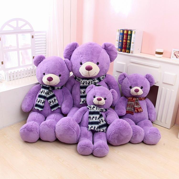 New Coming 80-100Cm lovely Lavender Bear Purple Teddy Bear Plush Bear Toys Stuffed Doll High Quality Kids Birthday Gift