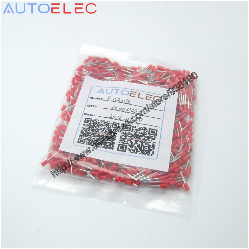 1000pcs/pack E0308 Cord End Pre-insulated Terminals Wire Connectors Bootlace Ferrules For 0.3mm2 8mm Pin Of Length Brass Tubes
