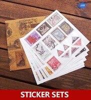10-Pack new European vintage style stamp sticker sets for scrapbooking , masking , Vintage old stamp stickers