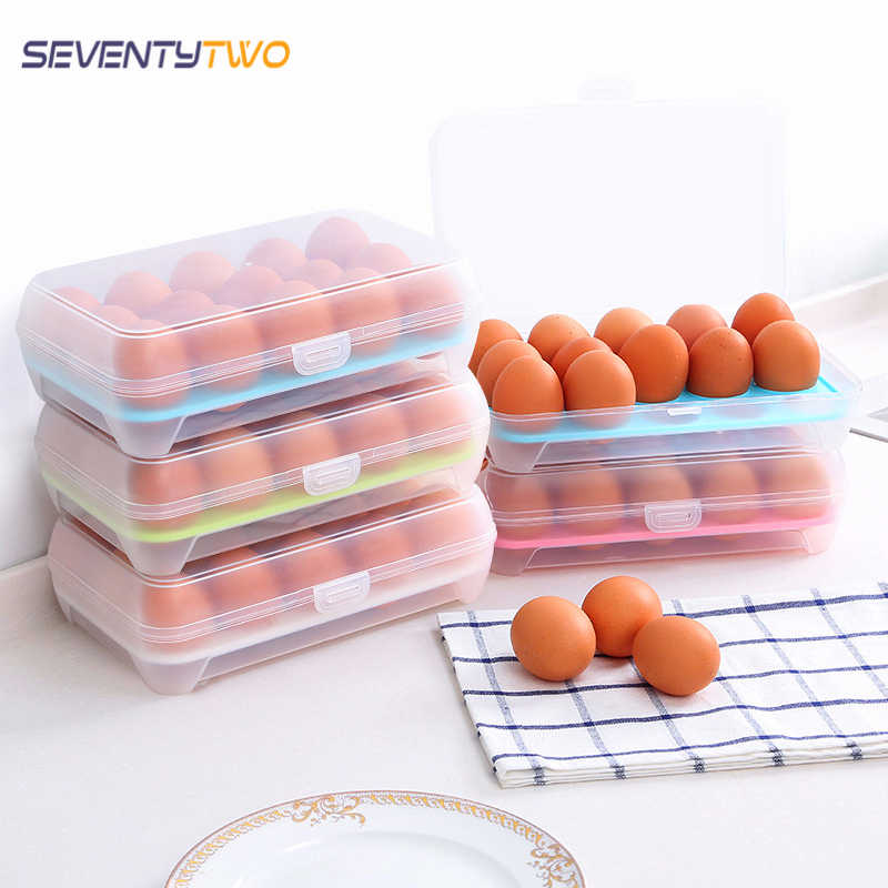 15 Eggs Holder Clear Food Storage Container Refrigerator Egg Storage Box Case Food Preservation Plastic Boxes Kitchen Organizer