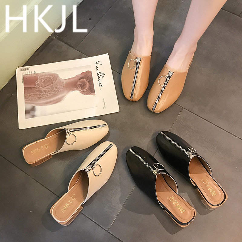 HKJL Spring 2019 new Korean version of slippers retro square head front zipper flat outside wear
